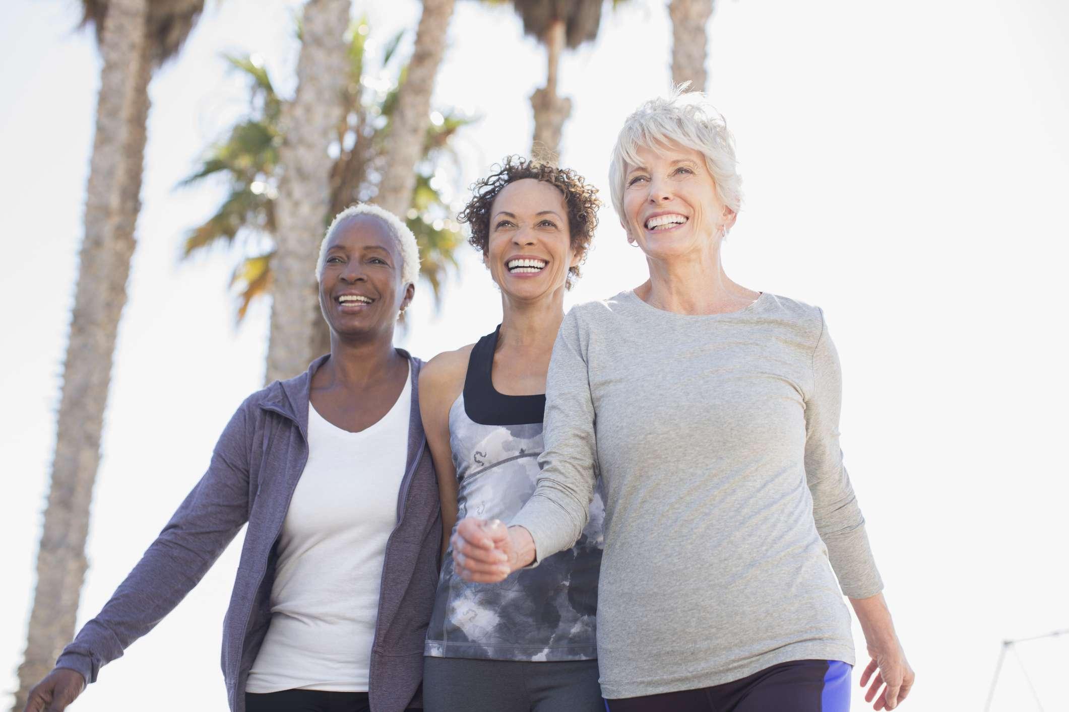Senior women walking outdoors