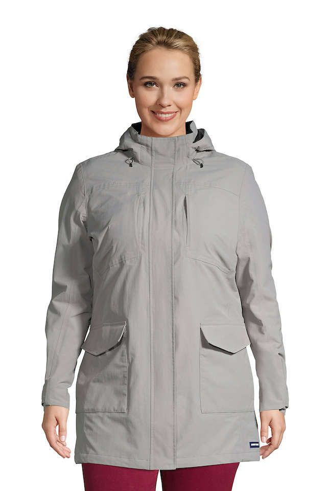 Lands' End Women's Plus Size Squall Waterproof Raincoat with Hood