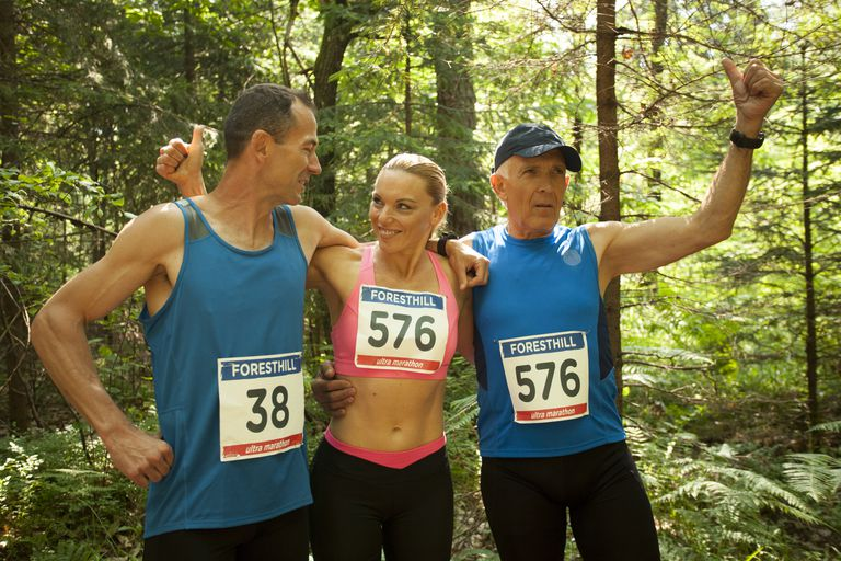 Men and woman during ultramarathon race training