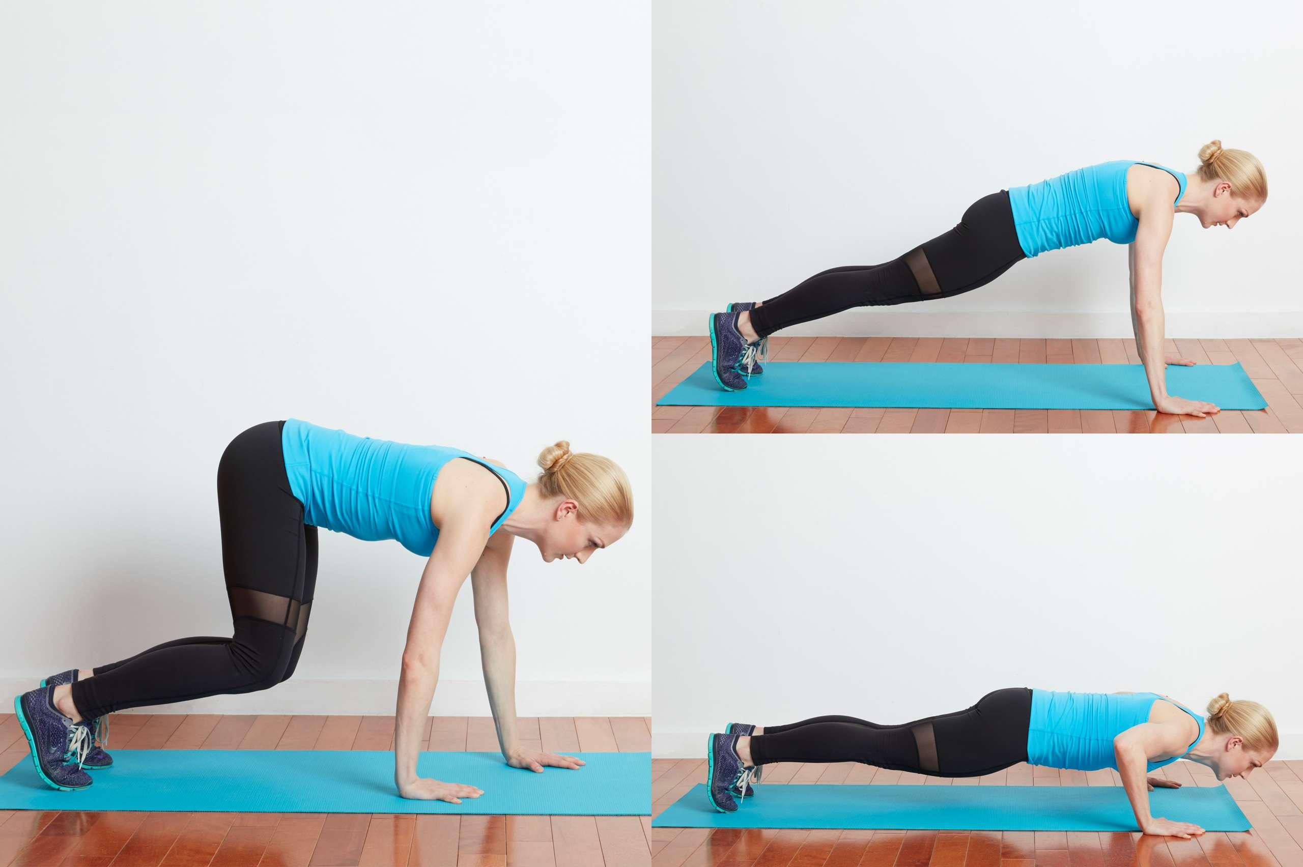 Woman doing bear crawl exercise