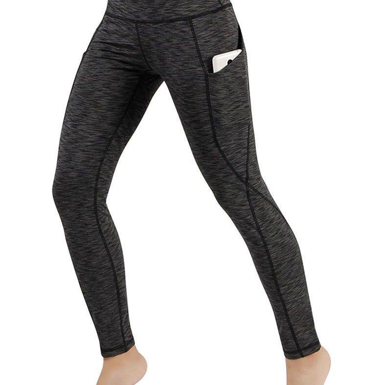 ODODOS Pantalones de yoga de cintura alta con bolsillo para yoga, Capris, control de barriga, para correr, pantalones de yoga elásticos de 4 vías, Leggings