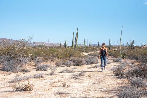 Woman walking for exercise in the desert