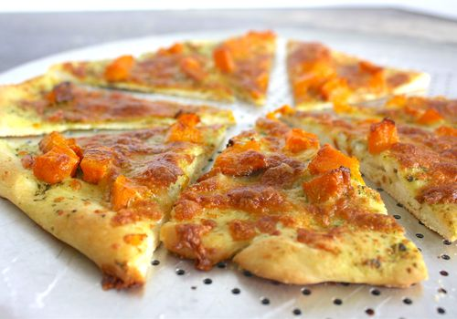 pesto and butternut squash pizza