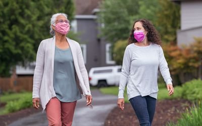 Walking outside with mask on