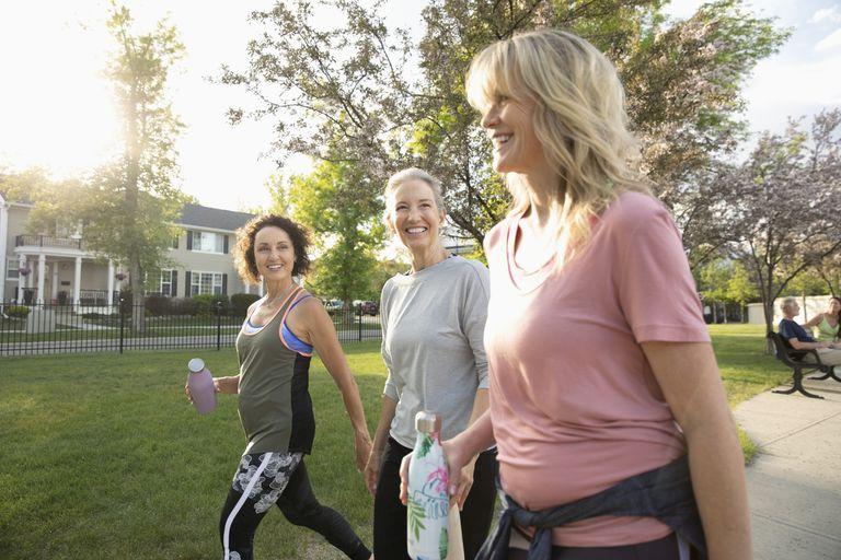 Older women walking in a park