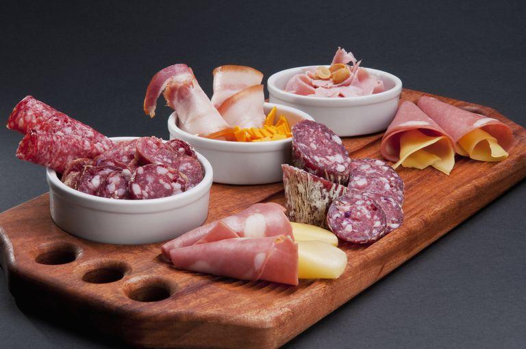 Gluten-free deli meats on cutting board