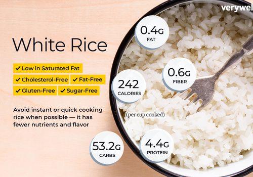 información nutricional del arroz blanco y beneficios para la salud
