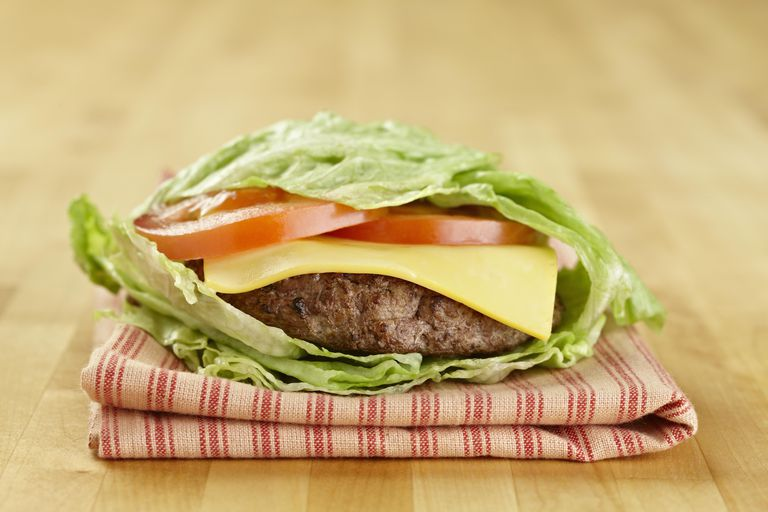 hamburger wrapped in lettuce