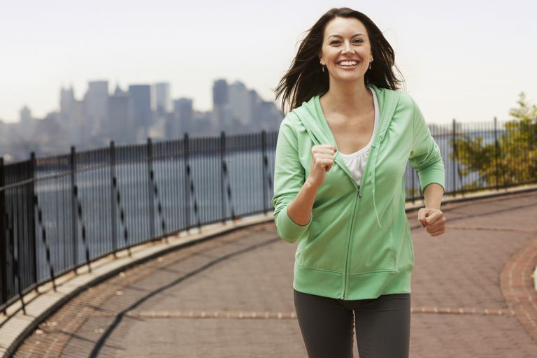 Woman Brisk Walking Central Park Reservoir - Green