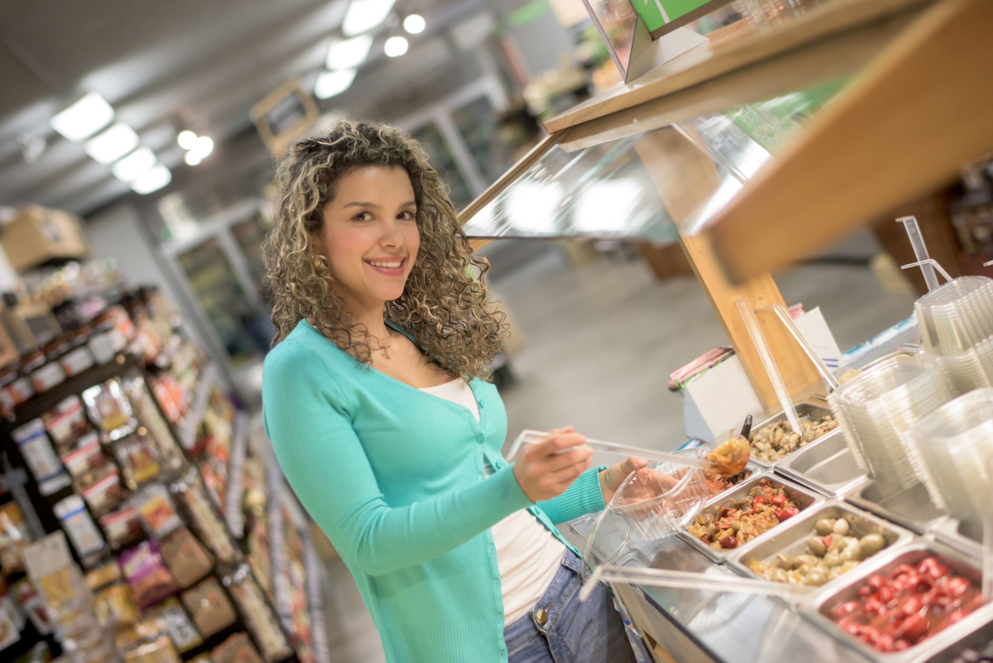 Woman at Salad Bar - Fast and Easy Meal