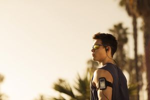 Young Man Runner Wearing Sunglasses at Venice Beach