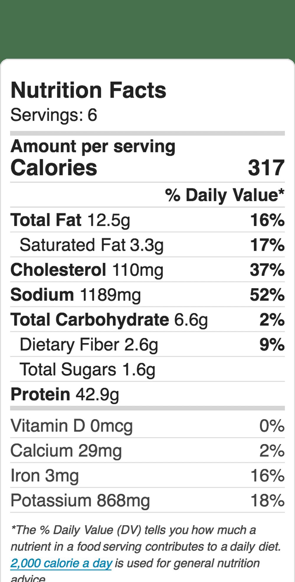 Nutrition Label Embed  1267813111 5b5a8ee546e0fb00251f21e5