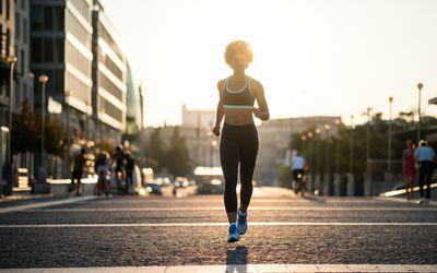 Woman marathon training