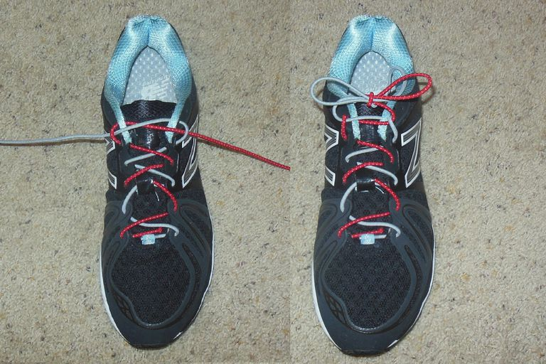 Shoelacing technique to avoid heel slippage