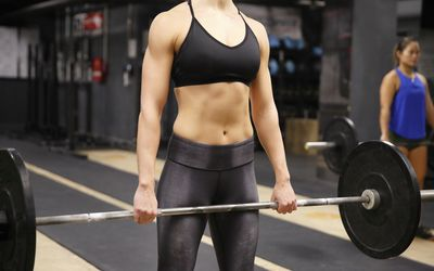 Woman holding barbell