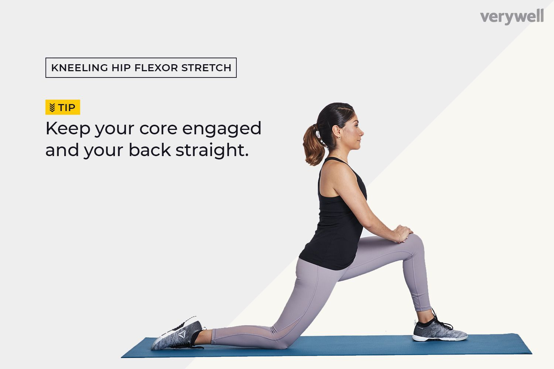 Woman doing a kneeling hip flexor stretch