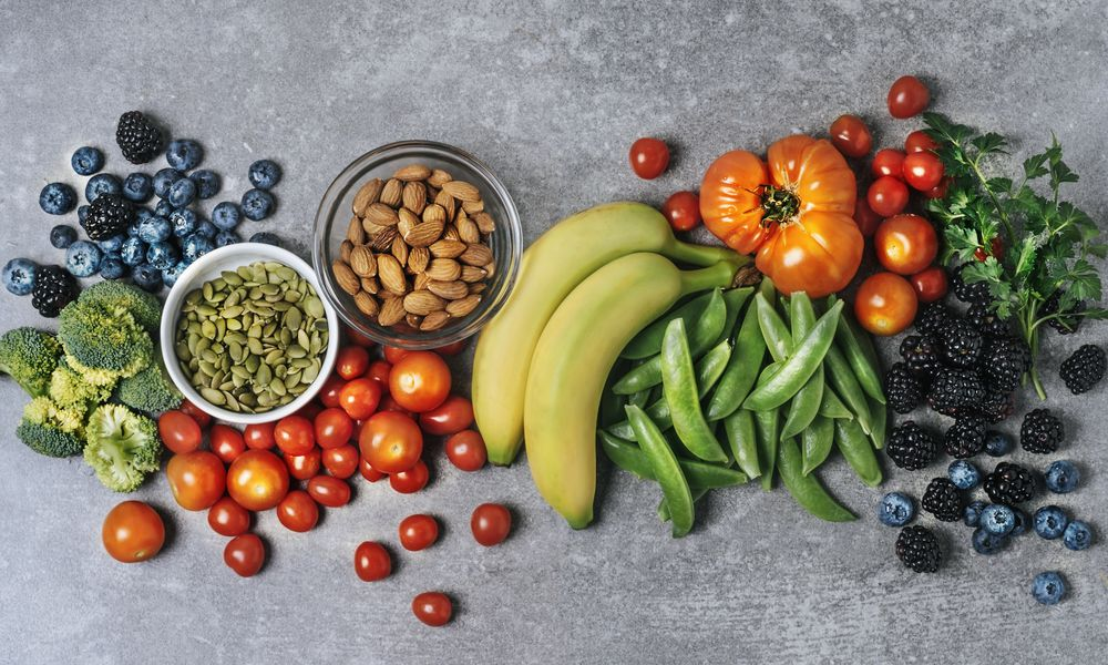 Fresh vegetables, fruits, and nuts