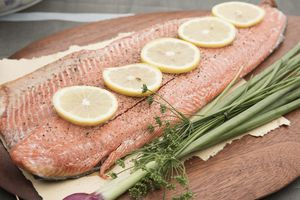 whole salmon filet with lemon and herbs