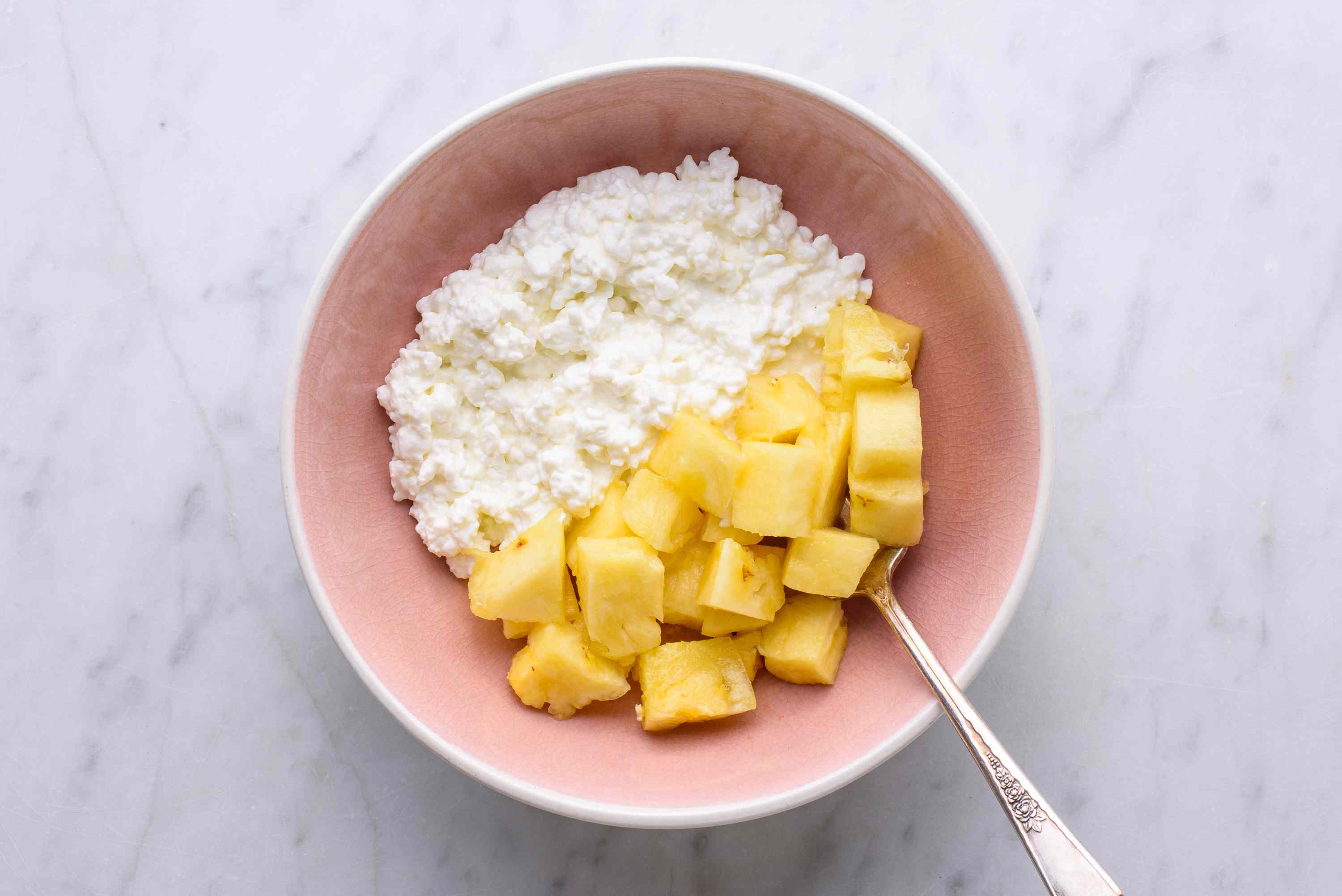cottage cheese with pineapple in a bowl