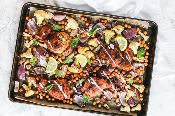 Sheet Pan Harissa Chicken and Cauliflower