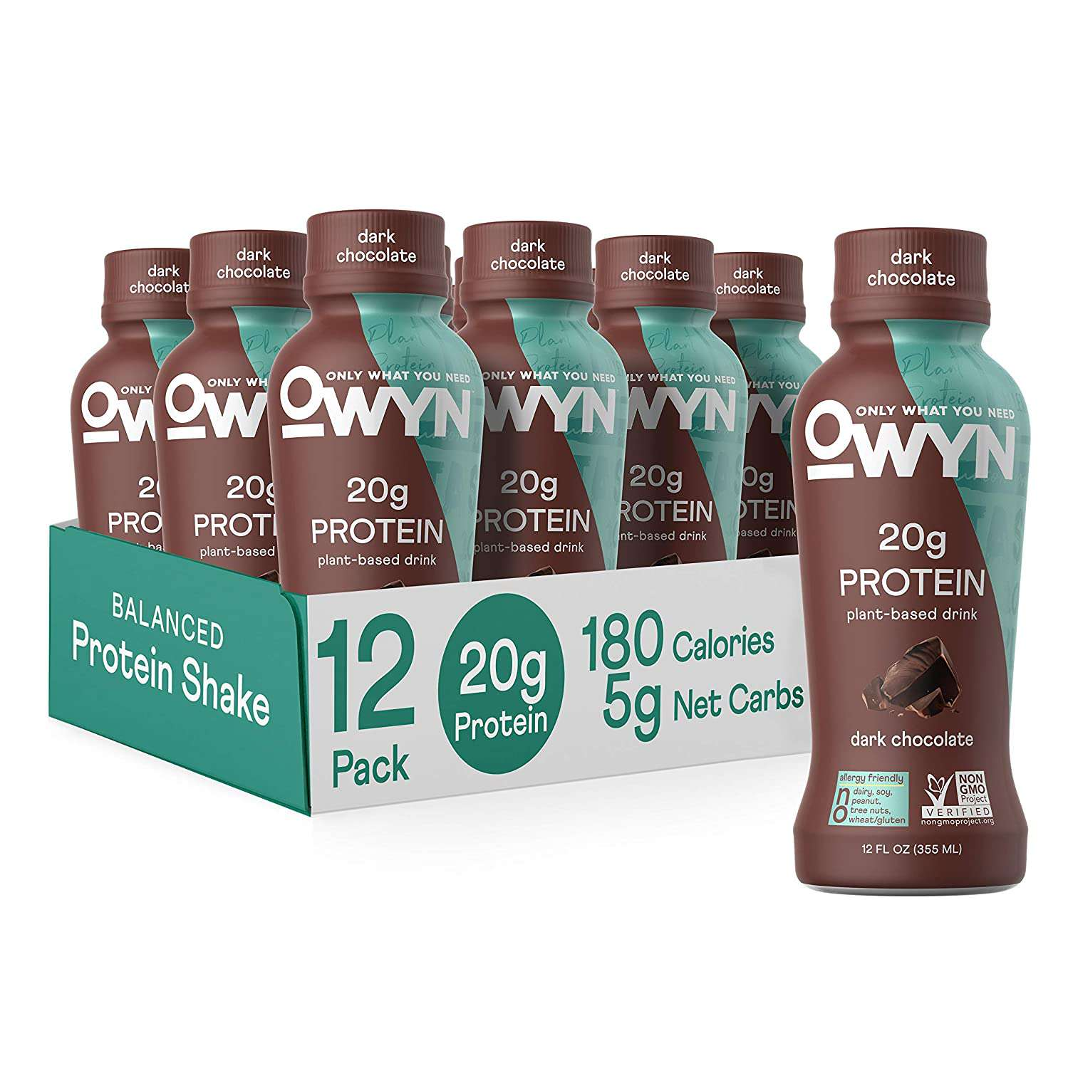 OWYN Only What You Need 100% Vegan Plant-Based Protein Shakes Dark Chocolate