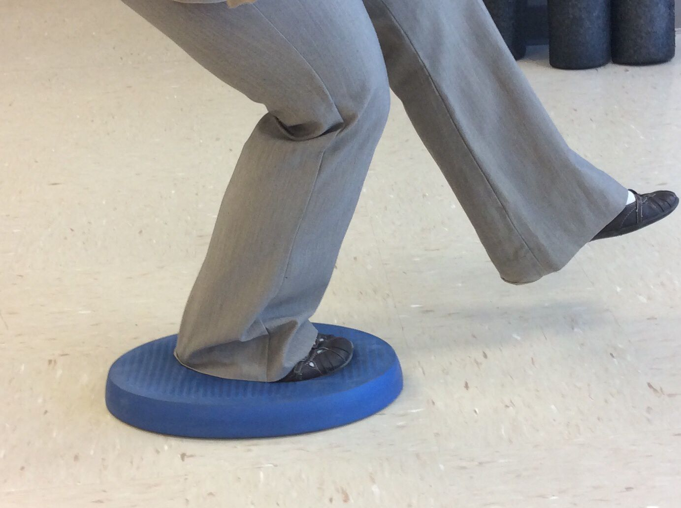 Image of balance exercises on therapy foam.