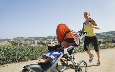 Woman with a jogging stroller
