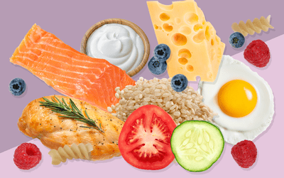 Salmon, cheese, eggs, and other food in the IIFYM diet