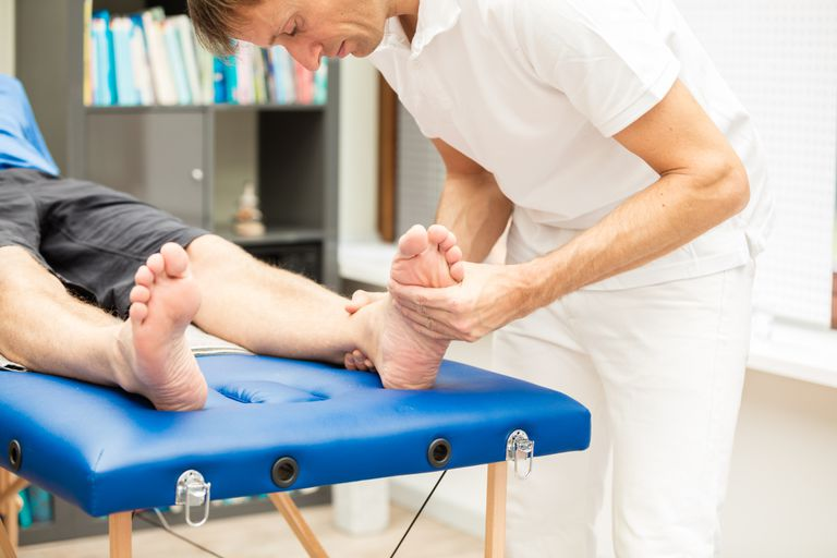 Therapist Testing mobility of foot