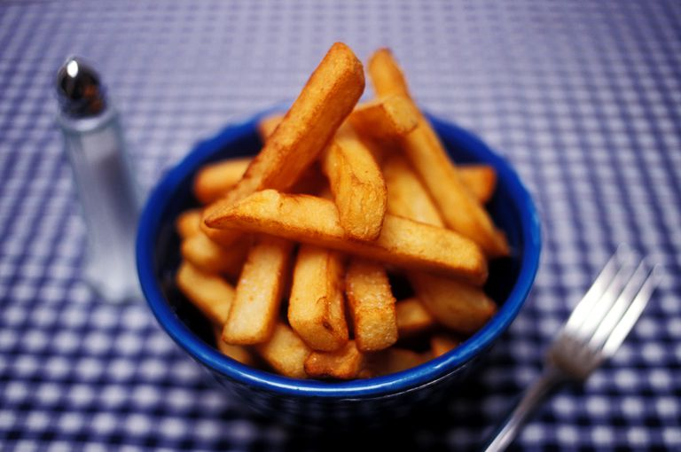 gluten-free french fries in a blue bowl